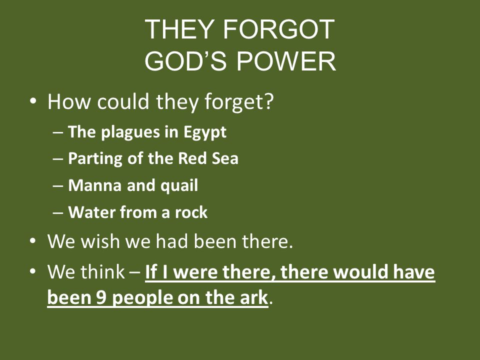 THEY FORGOT GODS POWER How could they forget? – The plagues in Egypt – Parting of the Red Sea – Manna and quail – Water from a rock We wish we had bee