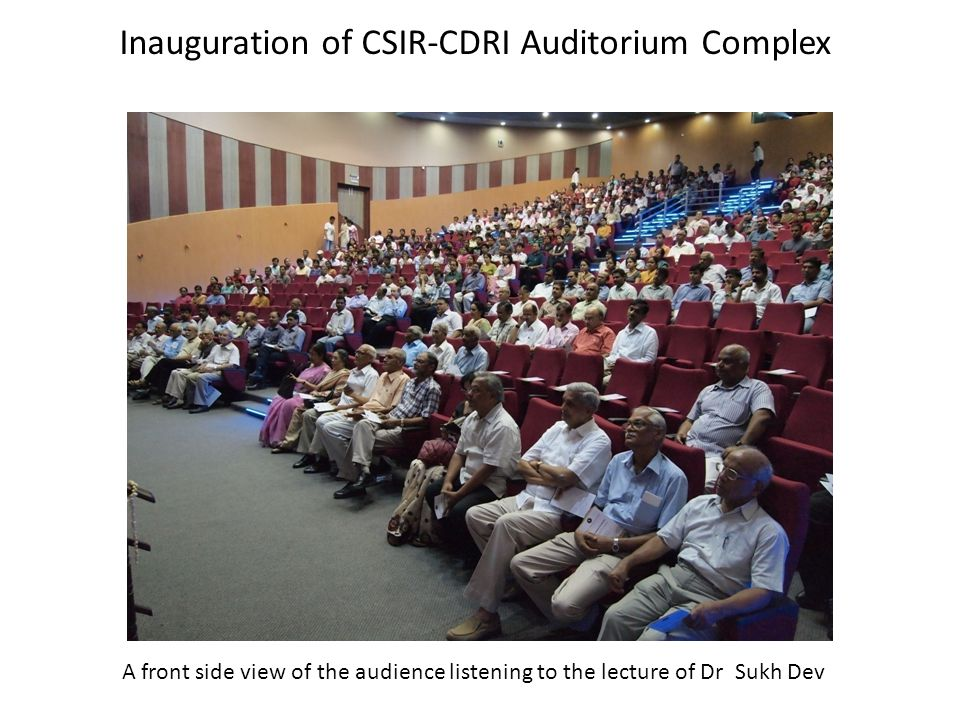 A front side view of the audience listening to the lecture of Dr Sukh Dev Inauguration of CSIR-CDRI Auditorium Complex