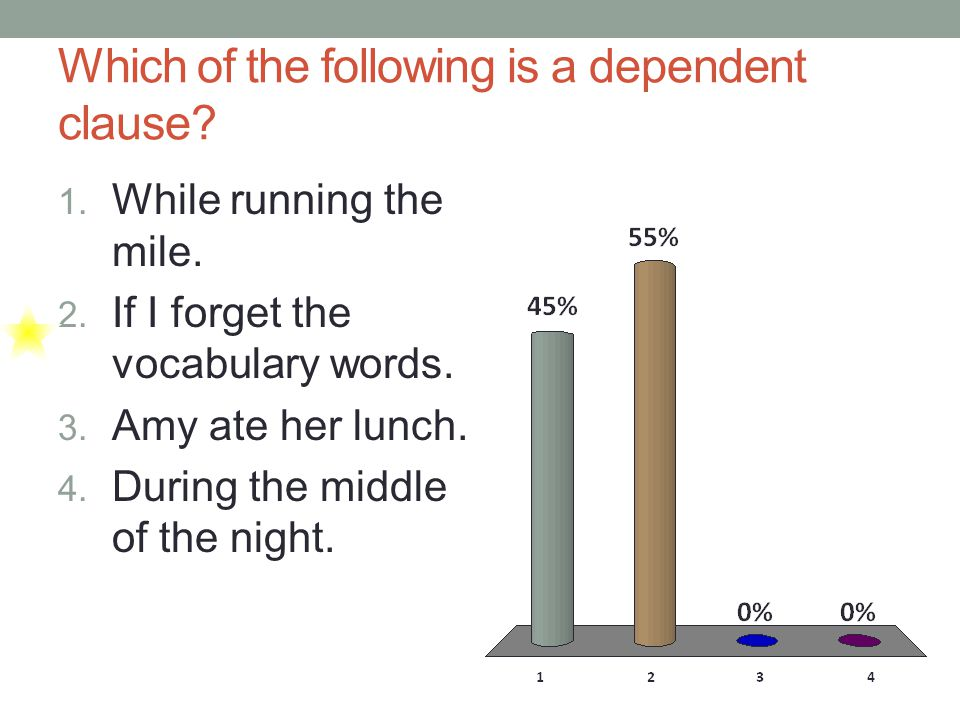 Which of the following is a dependent clause. 1. While running the mile.