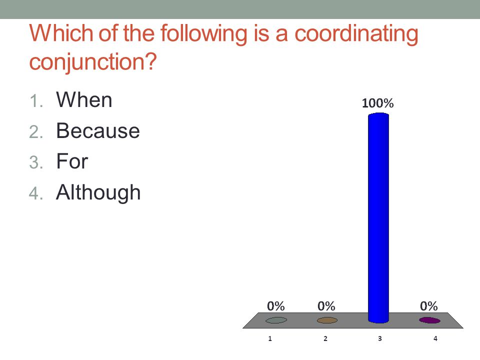 Which of the following is a coordinating conjunction 1. When 2. Because 3. For 4. Although
