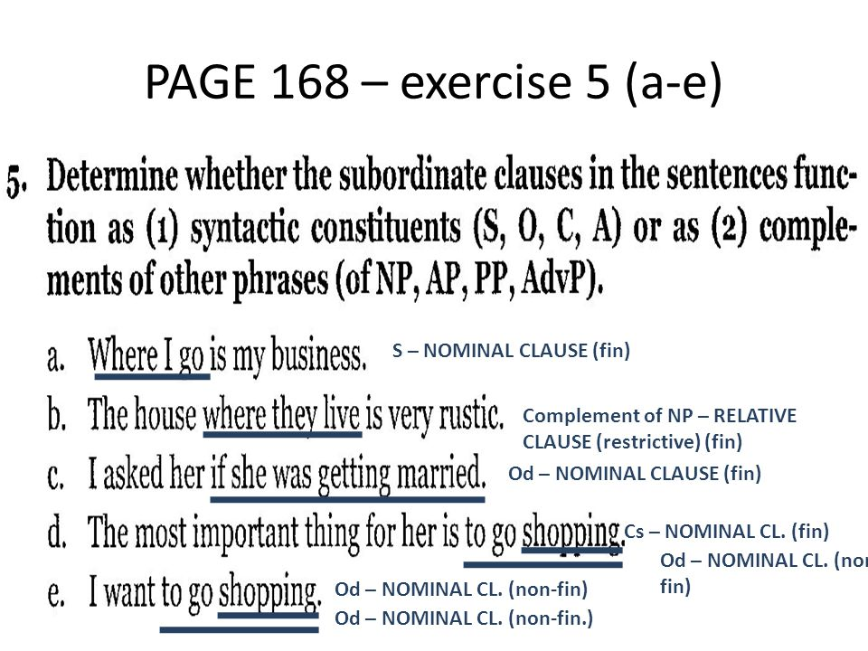 PAGE 168 – exercise 5 (a-e) S – NOMINAL CLAUSE (fin) Complement of NP – RELATIVE CLAUSE (restrictive) (fin) Od – NOMINAL CLAUSE (fin) Cs – NOMINAL CL.