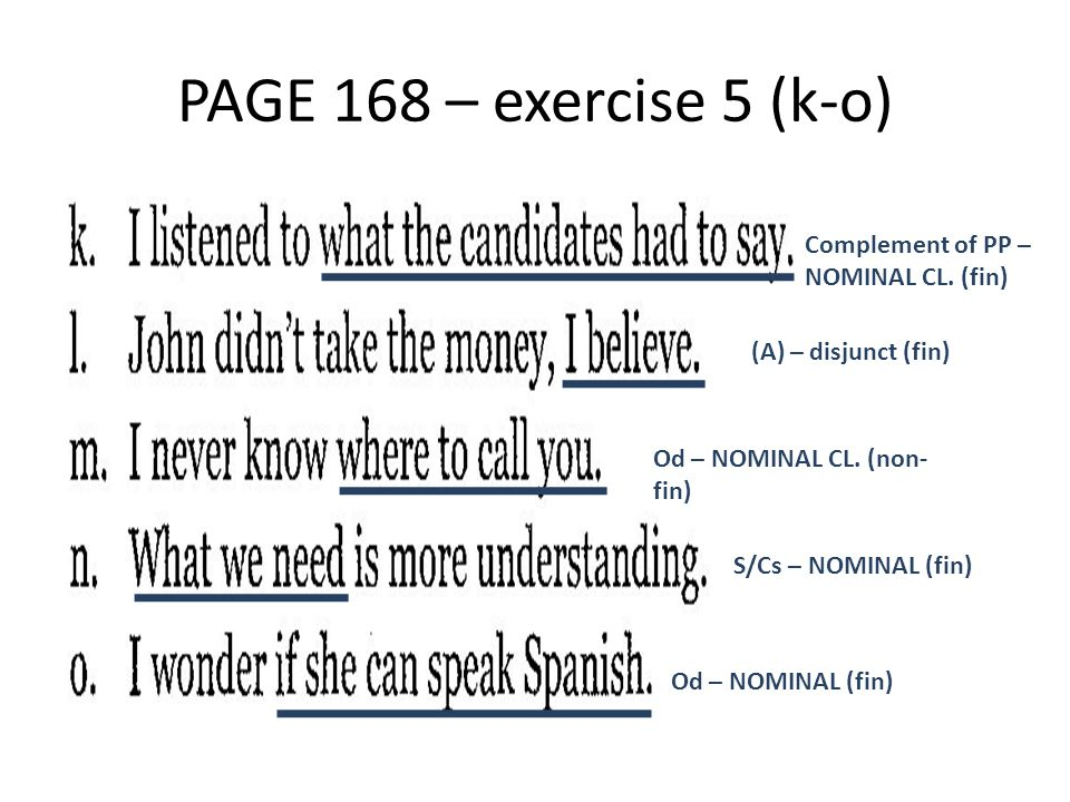 PAGE 168 – exercise 5 (k-o) Complement of PP – NOMINAL CL. (fin) (A) – disjunct (fin) Od – NOMINAL CL. (non- fin) S/Cs – NOMINAL (fin) Od – NOMINAL (f