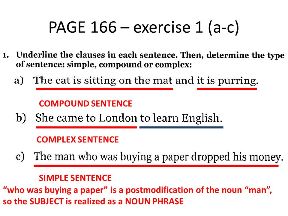 PAGE 166 – exercise 1 (d-f) COMPLEX SENTENCE