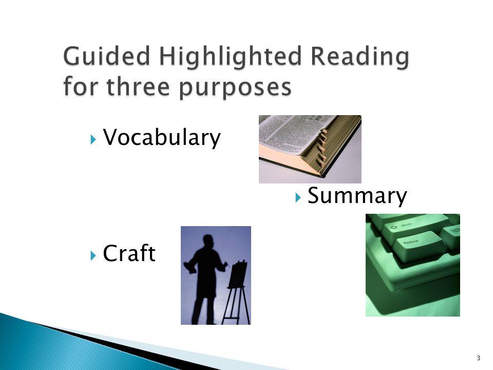 Vocabulary Summary Craft 3