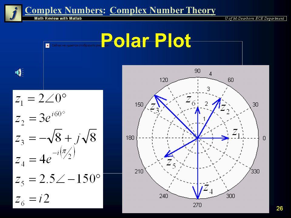Complex Numbers:Complex Number Theory 25 Matlab Verification z(1) = 2; z(2) = 3*exp(i*60*(pi/180)); z(3) = -(8^0.5) + j*(8^0.5); z(4) = 4*exp(-i*pi/2)