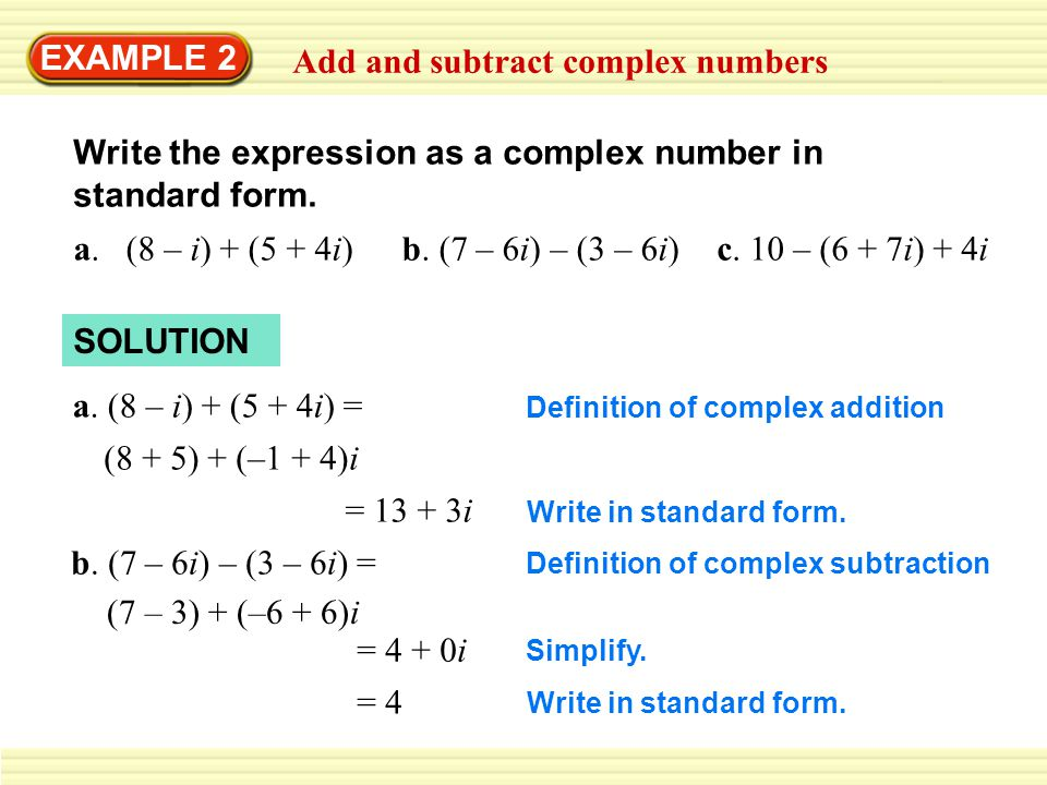 math worksheet : 4 6 perform operations with complex numbers example 1 solve a  : Adding And Subtracting Complex Numbers Worksheet