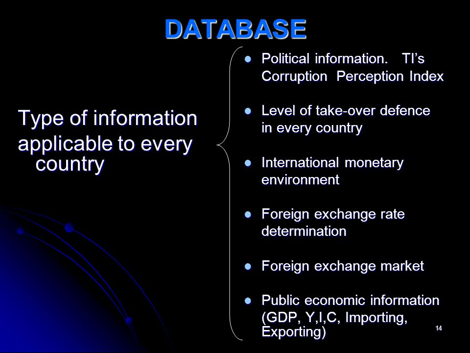 14 DATABASE Type of information applicable to every country Political information.