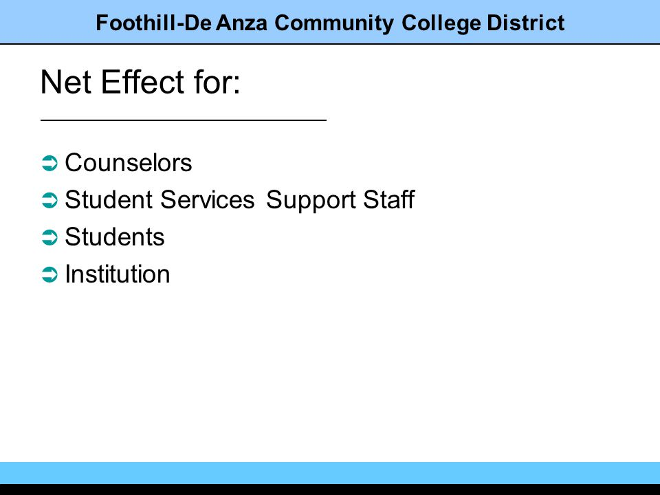 Foothill-De Anza Community College District Net Effect for: Counselors Student Services Support Staff Students Institution