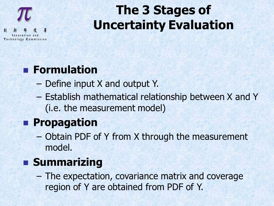 The 3 Stages of Uncertainty Evaluation n Formulation –Define input X and output Y.