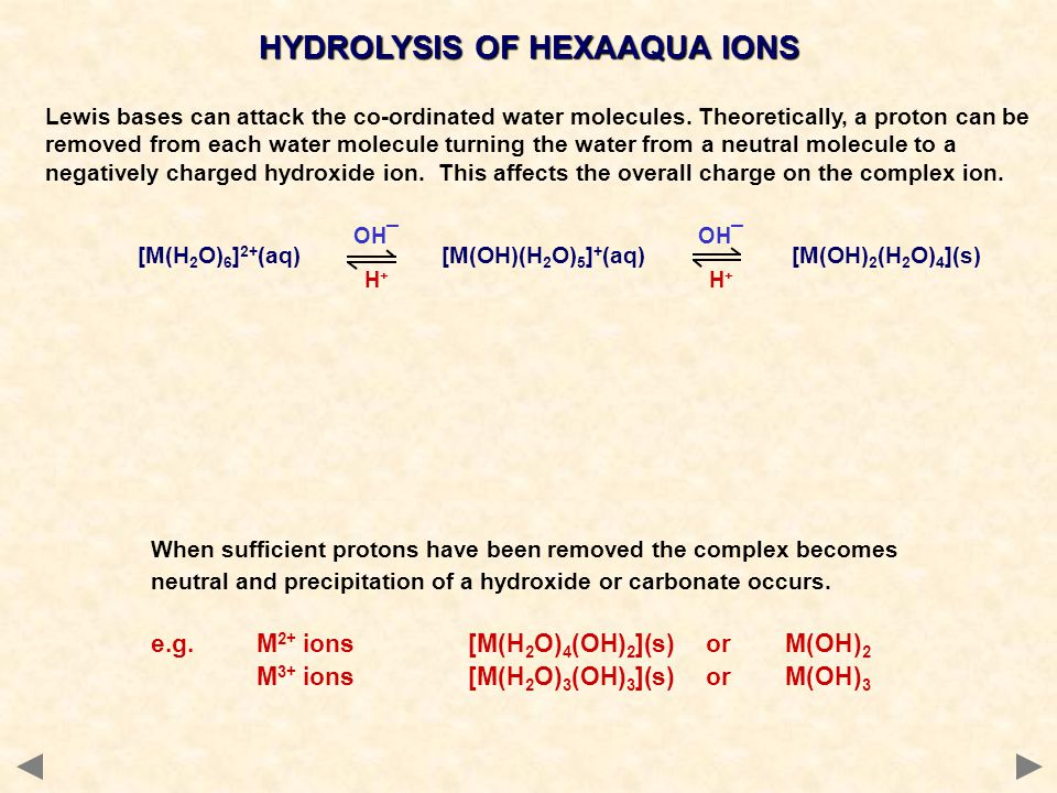 HYDROLYSIS OF HEXAAQUA IONS Lewis bases can attack the co-ordinated water molecules.