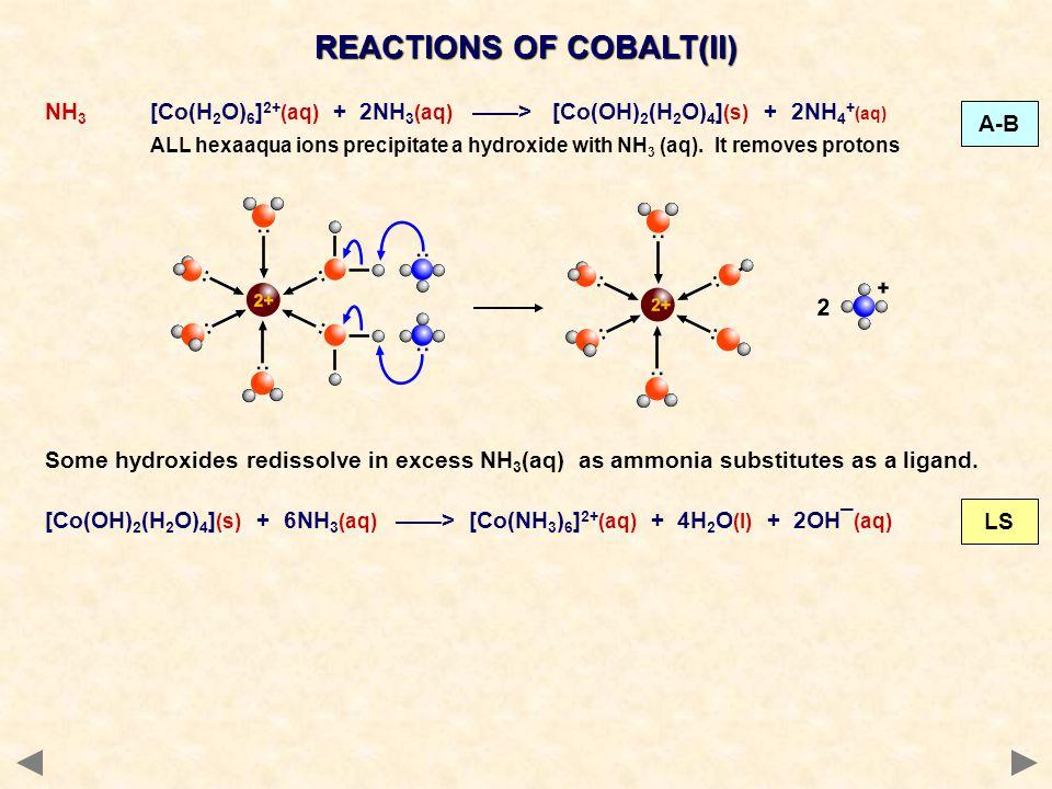 REACTIONS OF COBALT(II) NH 3 [Co(H 2 O) 6 ] 2+ (aq) + 2NH 3 (aq) > [Co(OH) 2 (H 2 O) 4 ] (s) + 2NH 4 + (aq) ALL hexaaqua ions precipitate a hydroxide