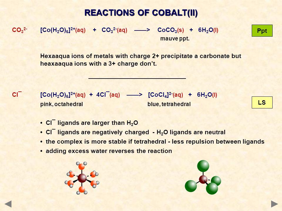 REACTIONS OF COBALT(II) CO 3 2- [Co(H 2 O) 6 ] 2+ (aq) + CO 3 2- (aq) > CoCO 3 (s) + 6H 2 O (l) mauve ppt. Hexaaqua ions of metals with charge 2+ prec
