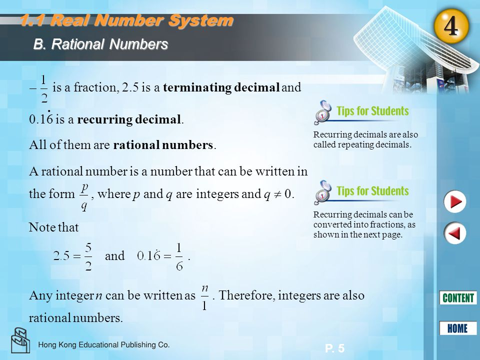 P.6 B. Rational Numbers Express 0.16 as a fraction:.