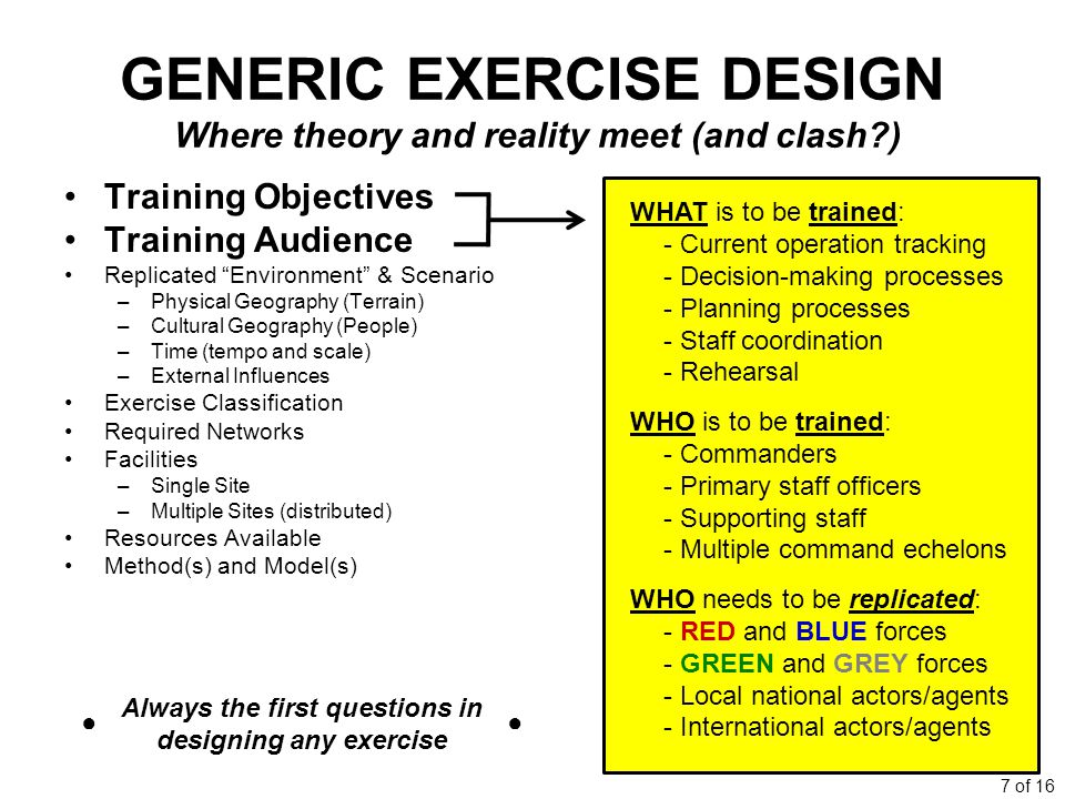 7 of 16 GENERIC EXERCISE DESIGN Where theory and reality meet (and clash?) Training Objectives Training Audience Replicated Environment & Scenario –Physical Geography (Terrain) –Cultural Geography (People) –Time (tempo and scale) –External Influences Exercise Classification Required Networks Facilities –Single Site –Multiple Sites (distributed) Resources Available Method(s) and Model(s) WHAT is to be trained: - Current operation tracking - Decision-making processes - Planning processes - Staff coordination - Rehearsal WHO is to be trained: - Commanders - Primary staff officers - Supporting staff - Multiple command echelons WHO needs to be replicated: - RED and BLUE forces - GREEN and GREY forces - Local national actors/agents - International actors/agents Always the first questions in designing any exercise