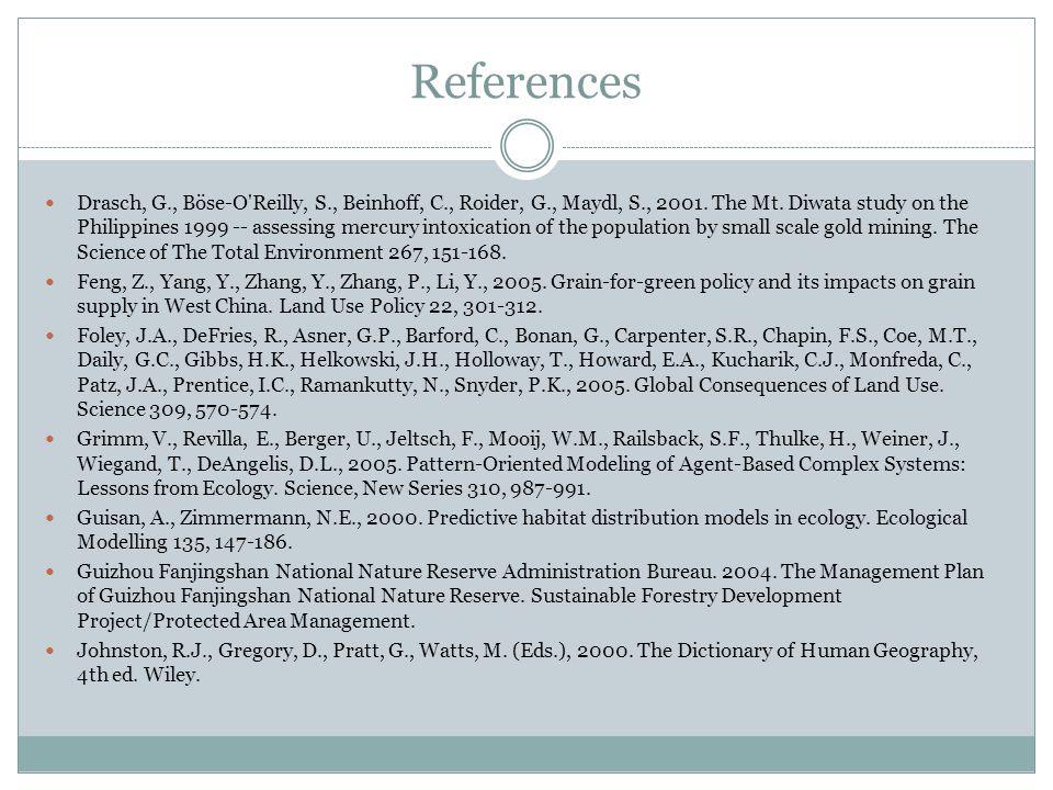 References Drasch, G., Böse-O Reilly, S., Beinhoff, C., Roider, G., Maydl, S., 2001.