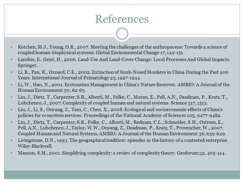 References Kotchen, M.J., Young, O.R., 2007.