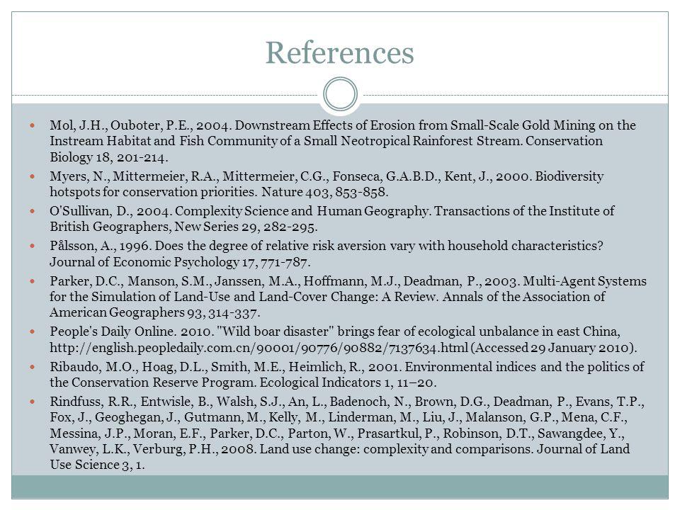 References Mol, J.H., Ouboter, P.E., 2004.