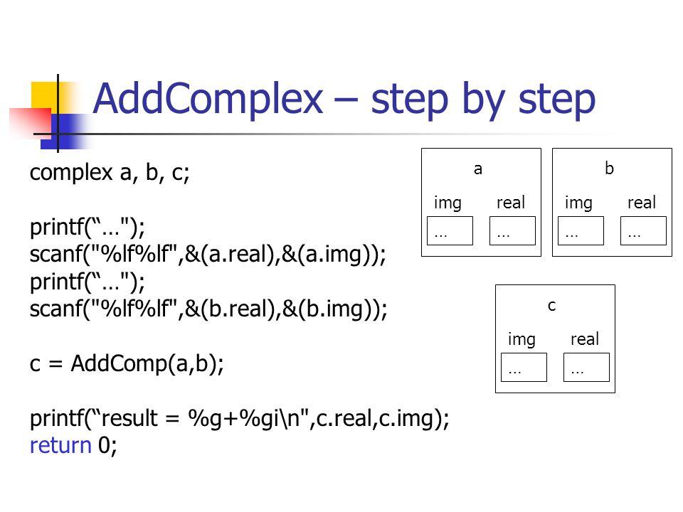AddComplex – step by step complex a, b, c; printf(… ); scanf( %lf%lf ,&(a.real),&(a.img)); printf(… ); scanf( %lf%lf ,&(b.real),&(b.img)); c = AddComp(a,b); printf(result = %g+%gi\n ,c.real,c.img); return 0; …… realimg a …… realimg b …… realimg c