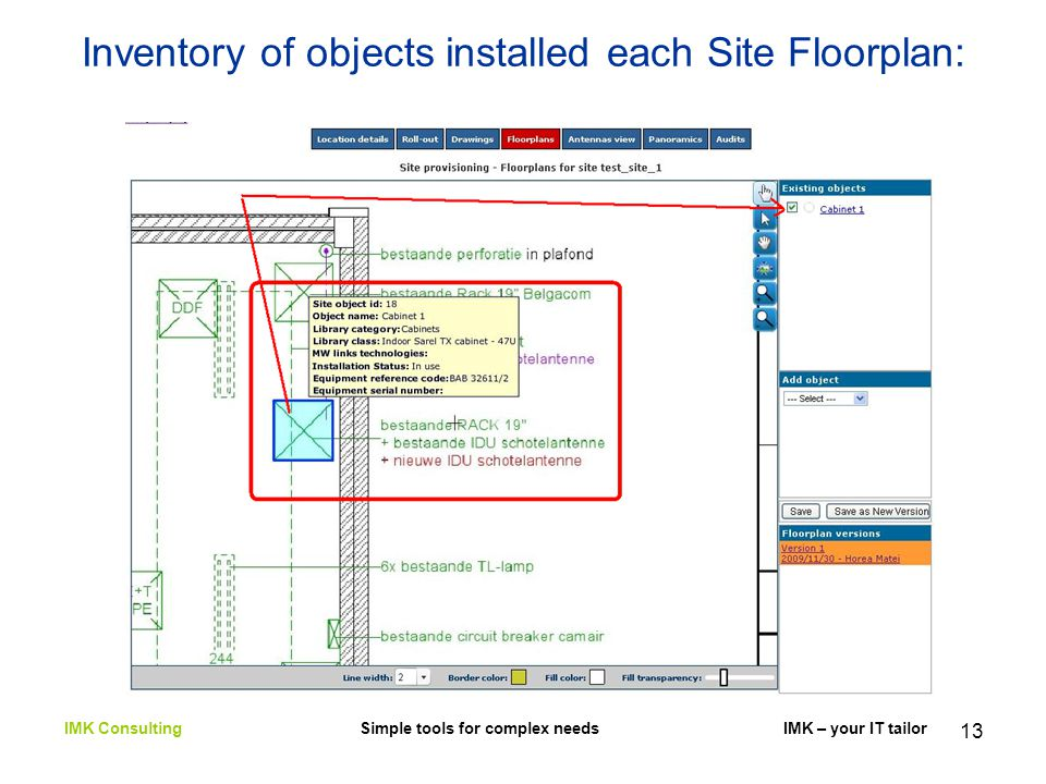 13 Inventory of objects installed each Site Floorplan: IMK Consulting Simple tools for complex needs IMK – your IT tailor