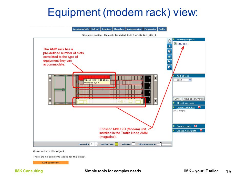 15 Equipment (modem rack) view: IMK Consulting Simple tools for complex needs IMK – your IT tailor