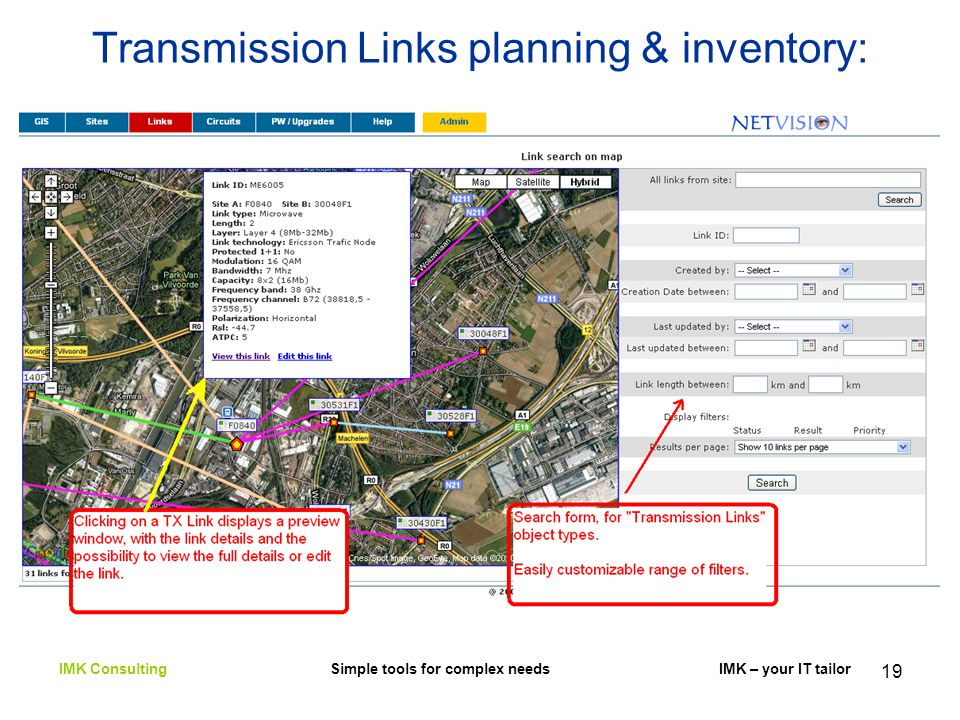 19 Transmission Links planning & inventory: IMK Consulting Simple tools for complex needs IMK – your IT tailor