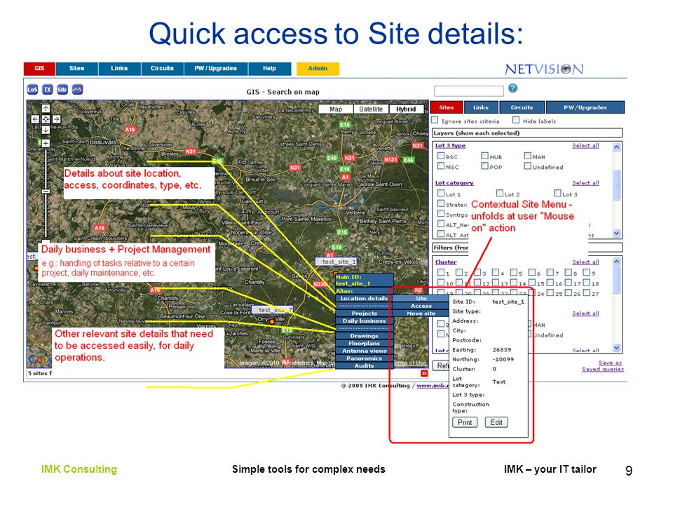 9 Quick access to Site details: IMK Consulting Simple tools for complex needs IMK – your IT tailor