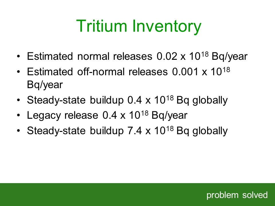 Tritium Inventory problem solved HELPING OUR CLIENTS SOLVE COMPLEX PROBLEMS Estimated normal releases 0.02 x Bq/year Estimated off-normal releases x Bq/year Steady-state buildup 0.4 x Bq globally Legacy release 0.4 x Bq/year Steady-state buildup 7.4 x Bq globally