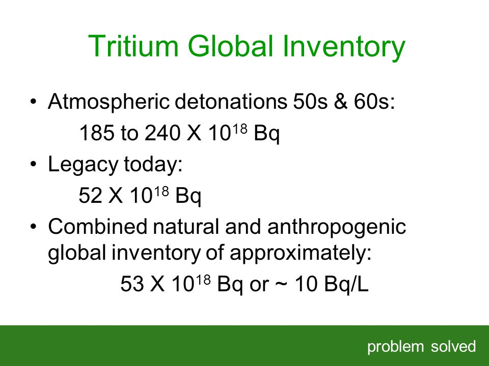 Tritium Global Inventory problem solved HELPING OUR CLIENTS SOLVE COMPLEX PROBLEMS Atmospheric detonations 50s & 60s: 185 to 240 X Bq Legacy today: 52 X Bq Combined natural and anthropogenic global inventory of approximately: 53 X Bq or ~ 10 Bq/L