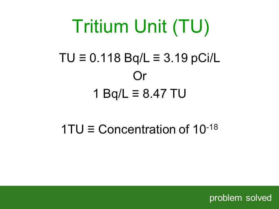 Tritium Unit (TU) problem solved HELPING OUR CLIENTS SOLVE COMPLEX PROBLEMS TU 0.118 Bq/L 3.19 pCi/L Or 1 Bq/L 8.47 TU 1TU Concentration of 10 -18