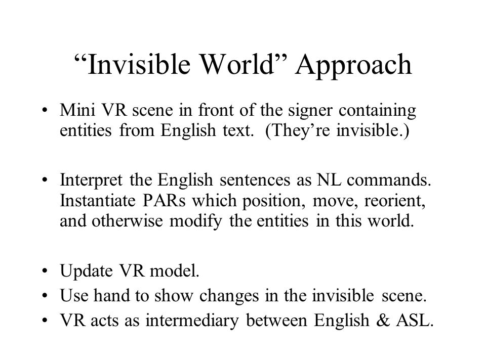 Invisible World Approach Mini VR scene in front of the signer containing entities from English text.