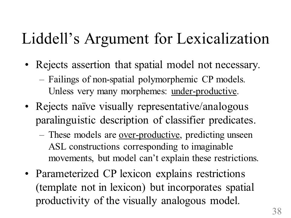 Liddells Argument for Lexicalization Rejects assertion that spatial model not necessary.