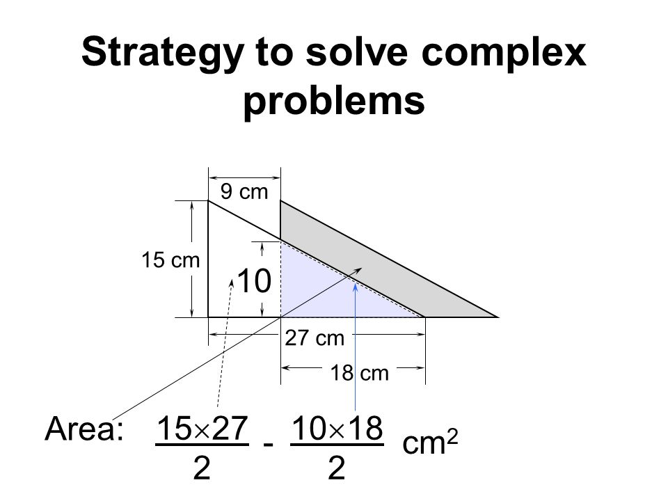 Strategy to solve complex problems 9 cm 15 cm 27 cm 18 cm 10 Area: cm 2 10 18 2 - 15 27 2