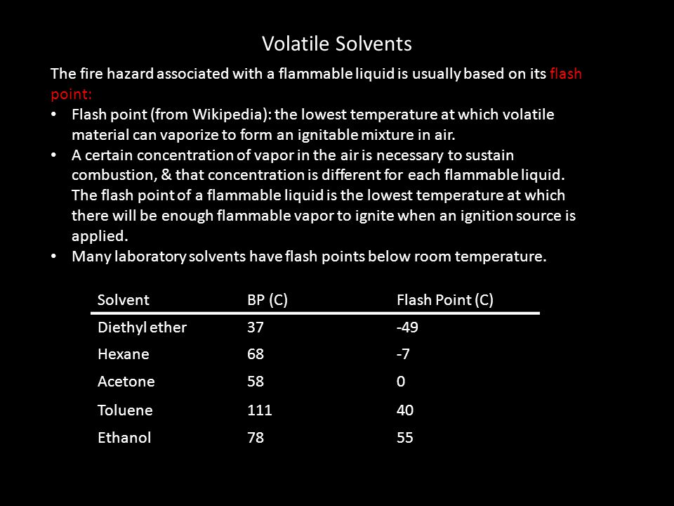 Volatile Solvents The fire hazard associated with a flammable liquid is usually based on its flash point: Flash point (from Wikipedia): the lowest tem