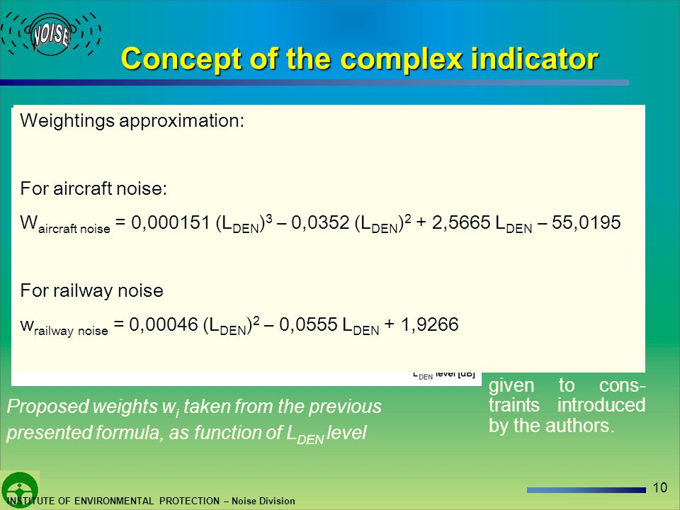 10 INSTITUTE OF ENVIRONMENTAL PROTECTION – Noise Division Concept of the complex indicator Proposed weights were developed using annoyance curves, specified in the Position Papers of the EU Working Group, that are presented earlier.