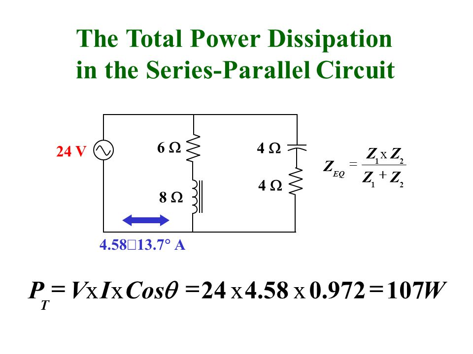 The Total Power Dissipation in the Series-Parallel Circuit WxxVx I x CosP T V ZZ x Zx ZZ Z EQ A
