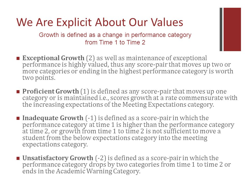 We Are Explicit About Our Values Exceptional Growth (2) as well as maintenance of exceptional performance is highly valued, thus any score-pair that moves up two or more categories or ending in the highest performance category is worth two points.