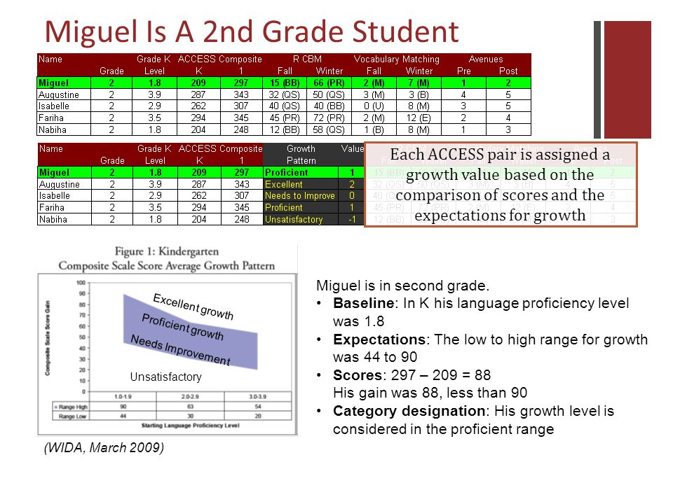 Each ACCESS pair is assigned a growth value based on the comparison of scores and the expectations for growth (WIDA, March 2009) Unsatisfactory Needs Improvement Proficient growth Excellent growth Miguel is in second grade.