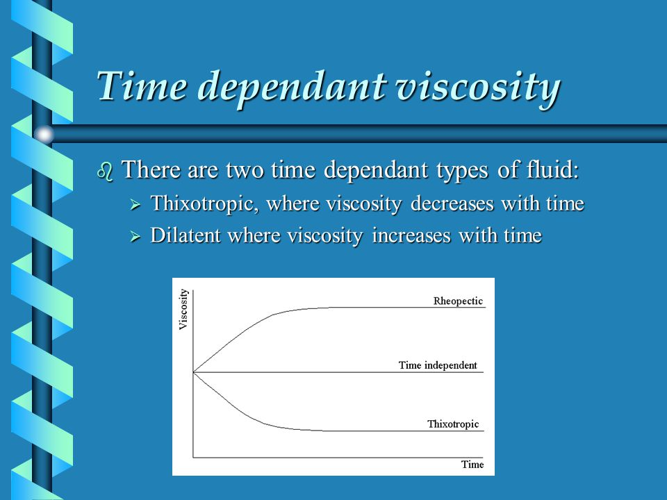 Time dependant viscosity b There are two time dependant types of fluid: Thixotropic, where viscosity decreases with time Thixotropic, where viscosity
