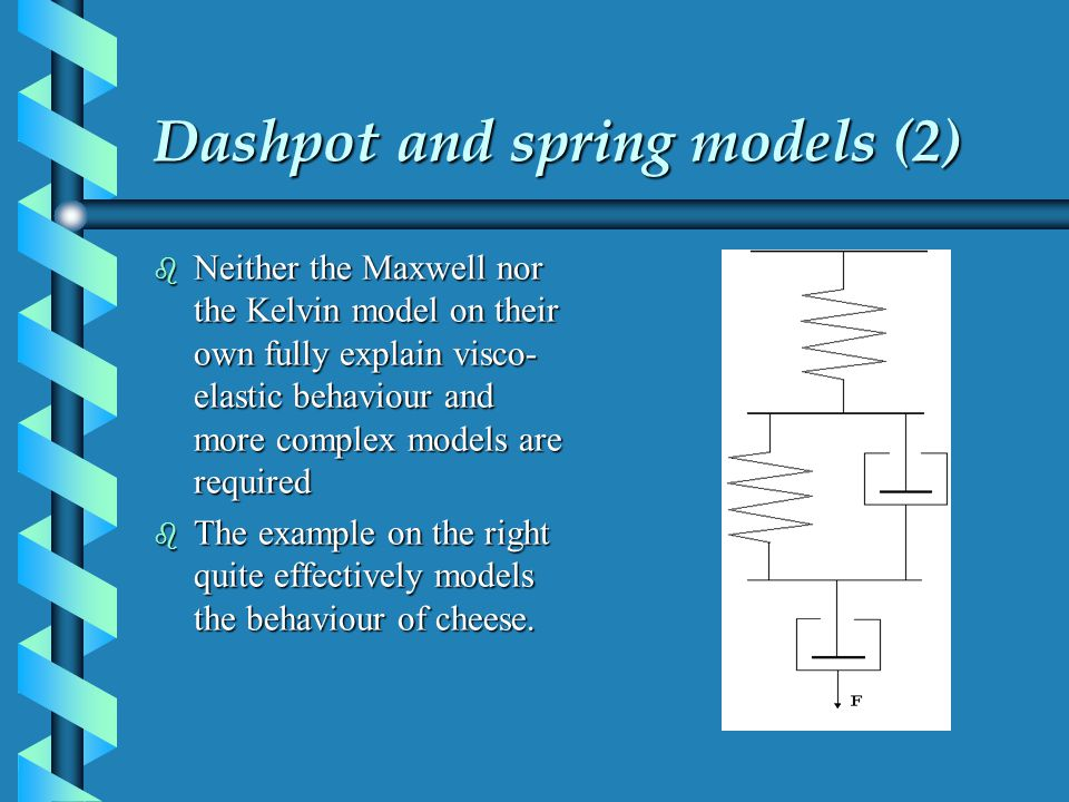 Dashpot and spring models (2) b Neither the Maxwell nor the Kelvin model on their own fully explain visco- elastic behaviour and more complex models a