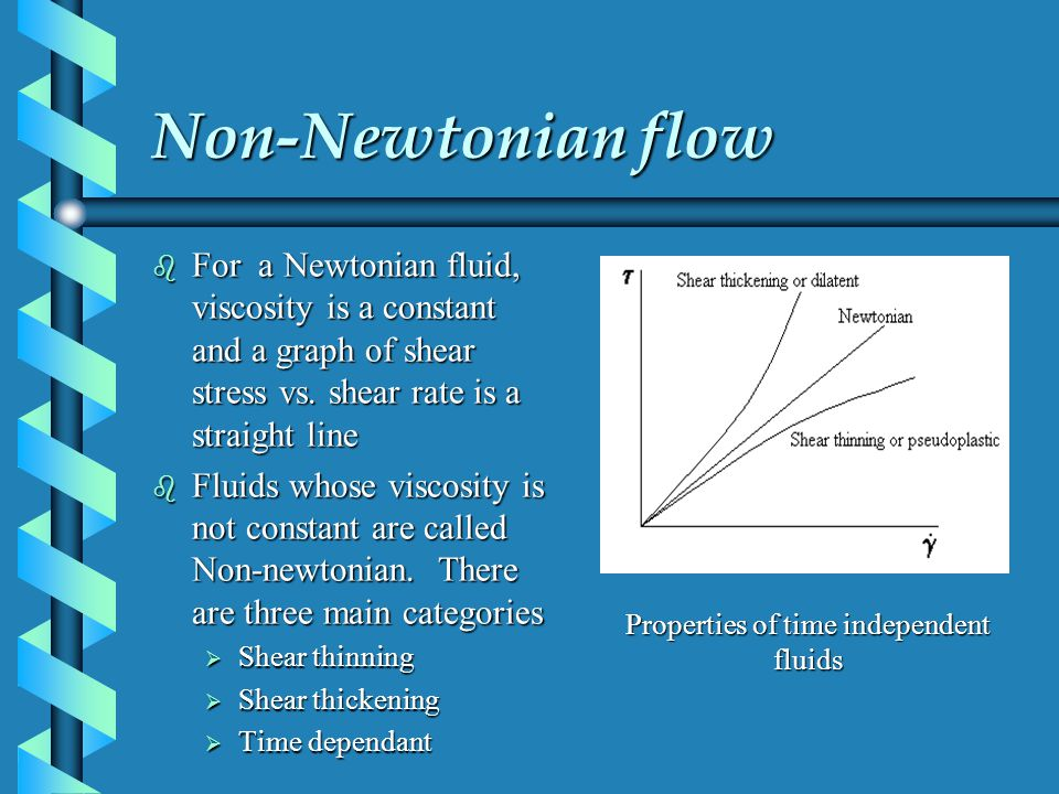 Non-Newtonian flow b For a Newtonian fluid, viscosity is a constant and a graph of shear stress vs.