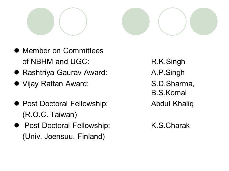 Member on Committees of NBHM and UGC: R.K.Singh Rashtriya Gaurav Award: A.P.Singh Vijay Rattan Award: S.D.Sharma, B.S.Komal Post Doctoral Fellowship: