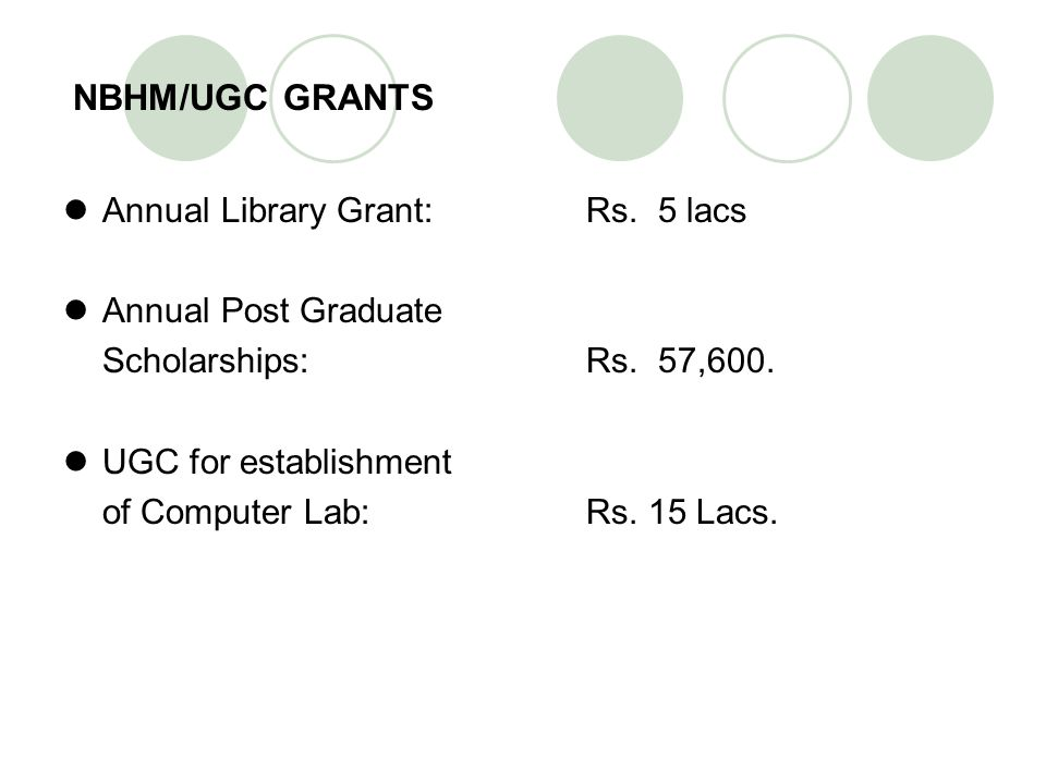 NBHM/UGC GRANTS Annual Library Grant: Rs. 5 lacs Annual Post Graduate Scholarships: Rs. 57,600. UGC for establishment of Computer Lab: Rs. 15 Lacs.