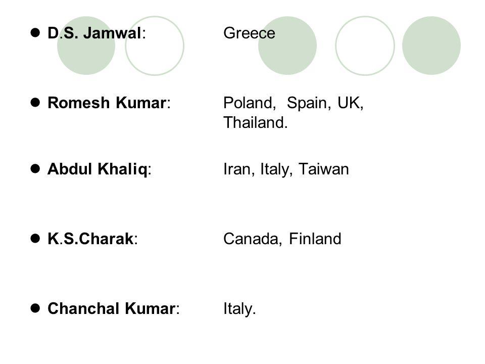 D.S. Jamwal: Greece Romesh Kumar: Poland, Spain, UK, Thailand. Abdul Khaliq: Iran, Italy, Taiwan K.S.Charak: Canada, Finland Chanchal Kumar: Italy.