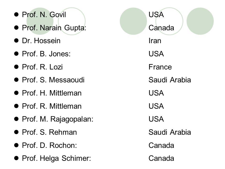 Prof. N. Govil USA Prof. Narain Gupta: Canada Dr. Hossein Iran Prof. B. Jones: USA Prof. R. Lozi France Prof. S. Messaoudi Saudi Arabia Prof. H. Mittl