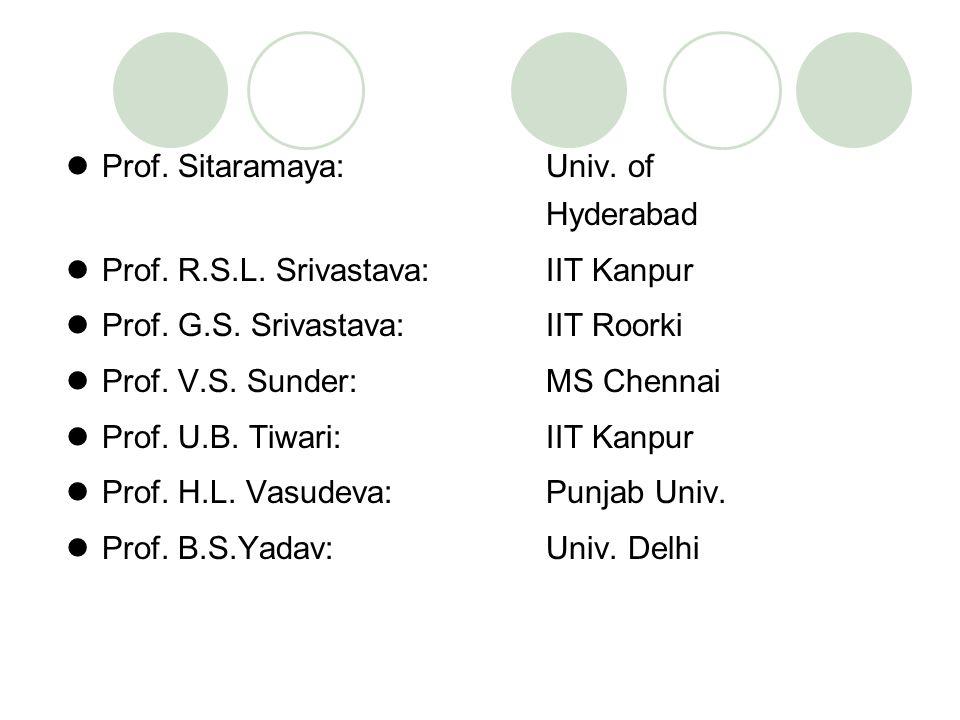 Prof. Sitaramaya: Univ. of Hyderabad Prof. R.S.L. Srivastava: IIT Kanpur Prof. G.S. Srivastava: IIT Roorki Prof. V.S. Sunder: MS Chennai Prof. U.B. Ti