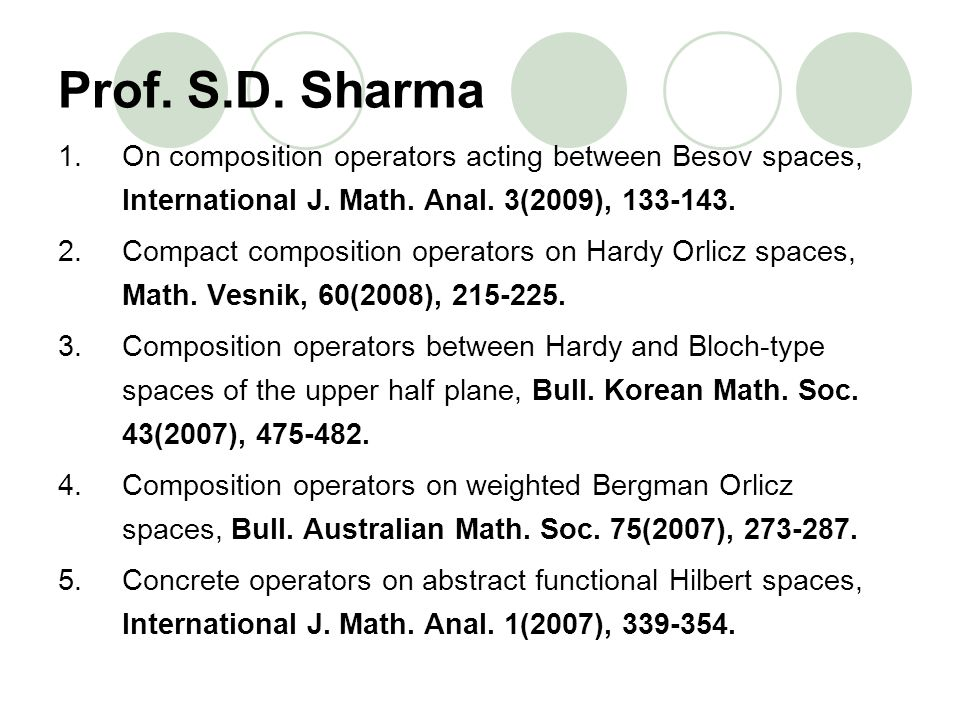 Prof. S.D. Sharma 1.On composition operators acting between Besov spaces, International J. Math. Anal. 3(2009), 133-143. 2.Compact composition operato