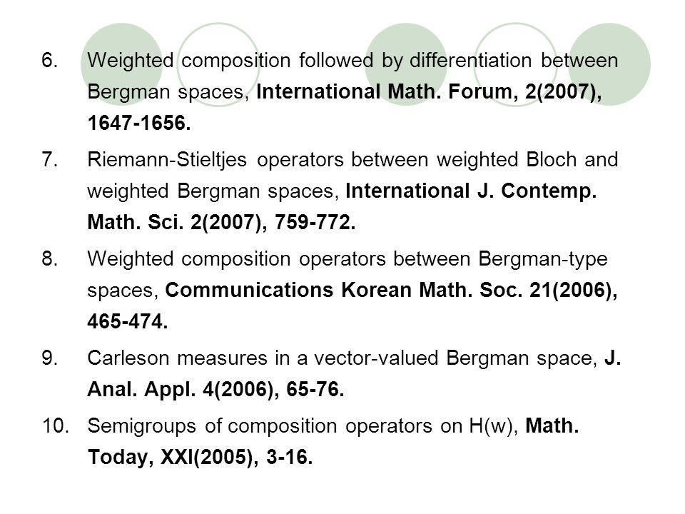 6.Weighted composition followed by differentiation between Bergman spaces, International Math. Forum, 2(2007), 1647-1656. 7.Riemann-Stieltjes operator