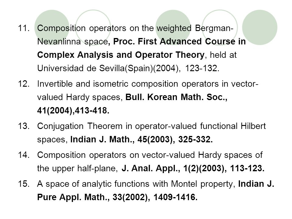 11.Composition operators on the weighted Bergman- Nevanlinna space, Proc. First Advanced Course in Complex Analysis and Operator Theory, held at Unive