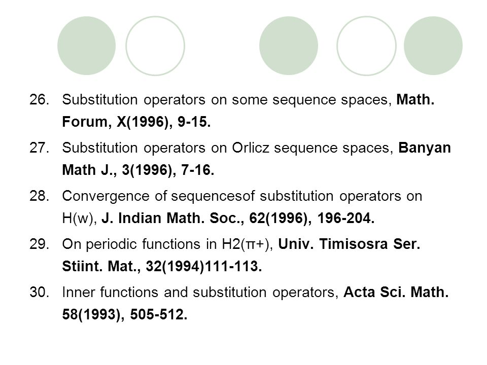 26.Substitution operators on some sequence spaces, Math. Forum, X(1996), 9-15. 27.Substitution operators on Orlicz sequence spaces, Banyan Math J., 3(