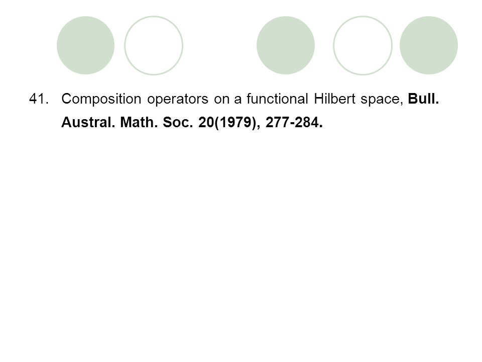 41.Composition operators on a functional Hilbert space, Bull. Austral. Math. Soc. 20(1979), 277-284.